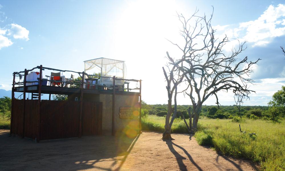 Midt ute på savannen, bare omgitt av gule enger og grønne trær, ligger den romantiske Løvehulen. Foto: Ronny Frimann