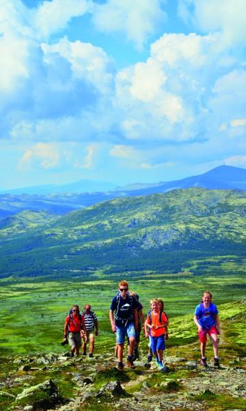 Familiene Jensen og Hansen Ødegårdstuen har vært på toppen av både Gaustadtoppen og Galdhøpiggen, og ønsket en tur med mindre folk rundt seg denne gangen. Foto: Ronny Frimann
