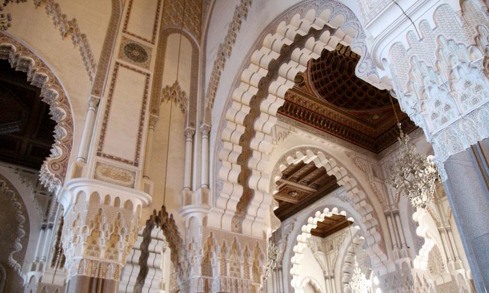 Detalj fra moskeen innvendig. Er dette verdens vakreste moské? Vi har vært i mange, men Hassan II tar fullstendig pusten fra oss. Foto: Hans-Christian Bøhler