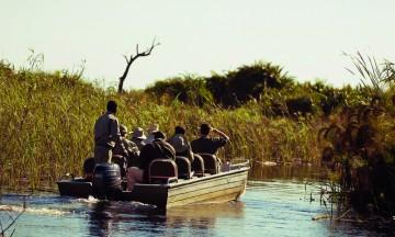 Okavango er verdens største innlandsdelta, så mye av dyretittingen foregår i båt. Foto: Ronny Frimann