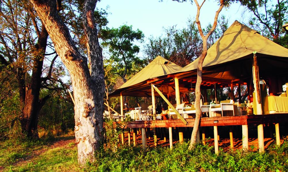 Resorten Xaranna ligger idyllisk til på tørt land inne i Okavangodeltaet. Foto: Torild Moland