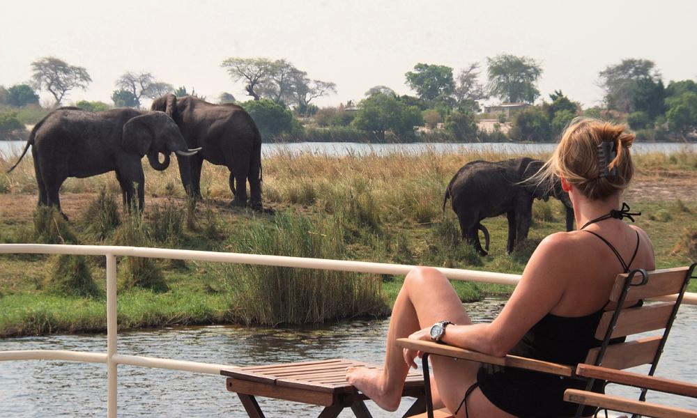 Kan man egentlig få en bedre safari? Sol, varme, en kald drink og livet passerer forbi. Foto: Ronny Frimann