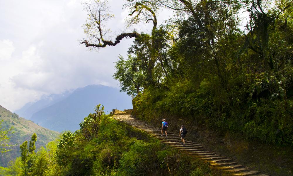 Eksteparet Gro Dalen og Heidi Hansen på vei opp til vår siste stopp: Den sjarmerende landsbyen Ghandruk med spennende historie of imponerende utsikt mot Annapurna. Foto: Mari Bareksten