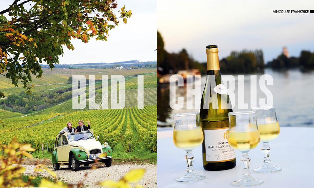 Chablis er et av verdens beste og mest kjente vindistrikt, med noen av verdens beste viner. Se den på typisk fransk maner – med 2CV. Foto: Torild Moland