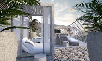 Verandaen til en av suitene har boblebad, cabanas og bedre utsikt enn kapteinen. Illustrasjon: Celebrity Cruises