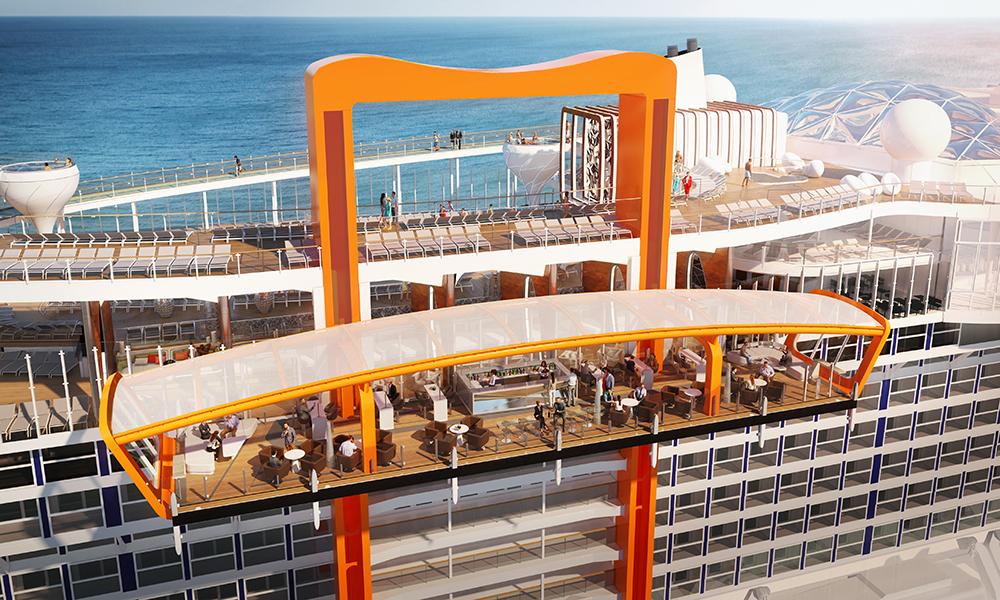 Det magiske teppe: en plattform som vil ligge utenfor selve skipet, og som er på størrelse med en tennisbane. Den kan forflyttes fra nedre til øverste dekk, og vil fungere både som en innskipningsstasjon, og som restaurant. Illustrasjon: Celebrity Cruises