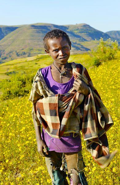 Frodige beiter og fargerike blomster er neppe det du forbinder med Etiopia. Men fattigdommen du trolig heller forbinder landet med, fins fortsatt. Foto: Gjermund Glesnes