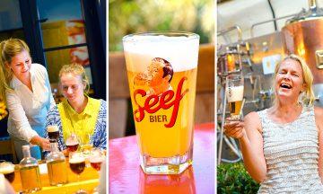 I Flandern er det kvinnene som dominerer ølkulturen. Annick De Splenter (47) startet bryggeriet Gruut i 2009. Bryggeriet er også en kafé og en ølbar, med blomster på bordene og kunst på veggene. Foto: Mari Bareksten