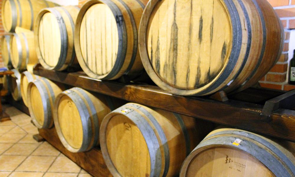 Vinen lagres i gamle eiketønner, for å få frem den autentiske smaken. Foto: Ida Anett Danielsen