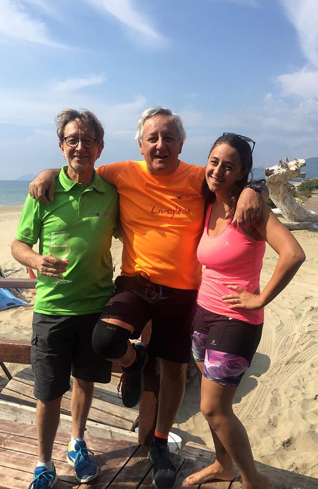 De flinke guidene våre, Francois, Francesco og Guilia. Foto: Anette Moe