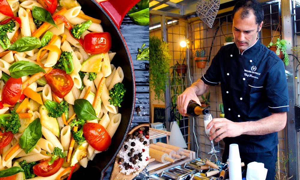 Kokk Francesco Javieoli (39) lærer deg gjerne sine beste pastatriks. Aller best blir den med  litt sprudlende  bobler først. Foto: Ida Anett Danielsen