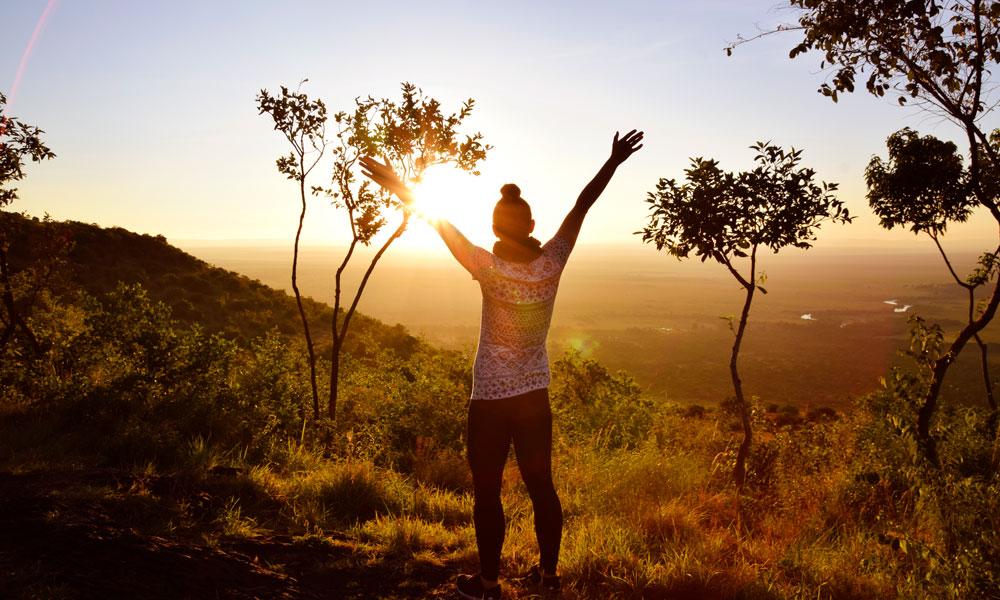 På savannen er lyset nesten magisk i både soloppgang og solnedgang. Foto: Mari Bareksten