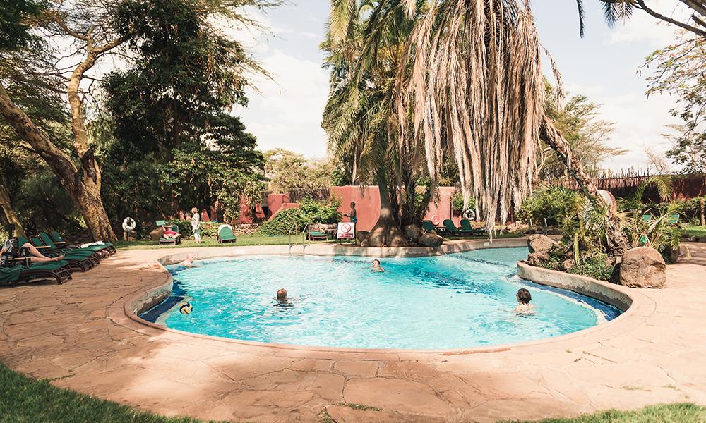 Svømmebasseng på Serena Lodge. Foto: Stian Klo