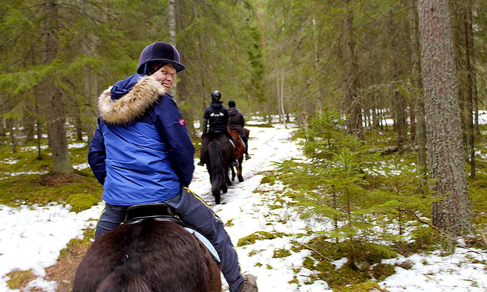 Jihaa! Hestene tramper taktfast inn i de dype skoger. Foto: Ida Anett Danielsen