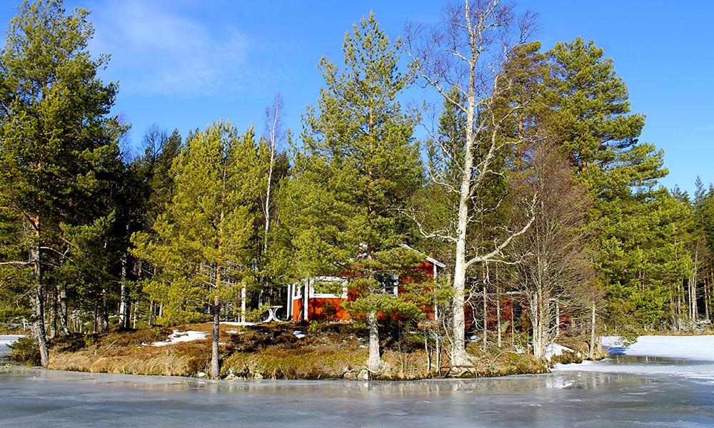 Svensk rød stuga –mer idyllisk blir det nesten ikke! Foto: Ida Anett Danielsen