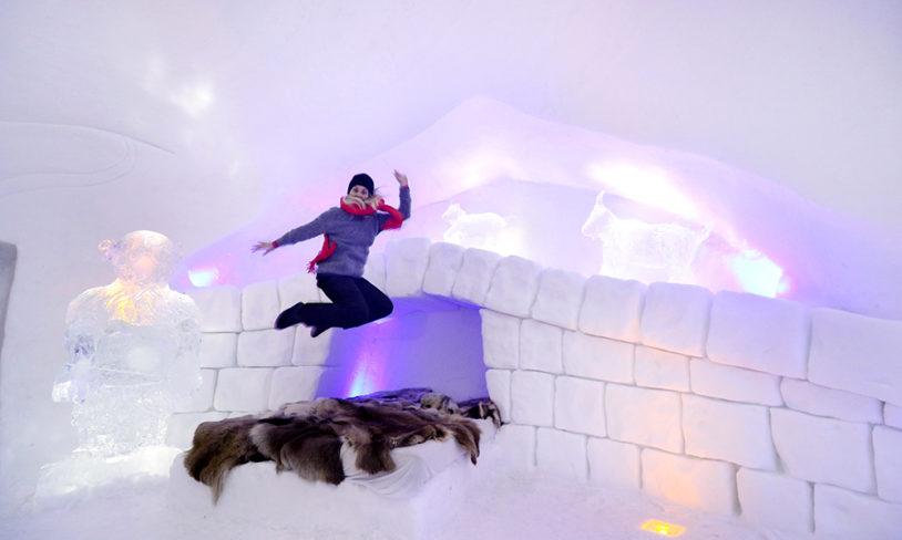 10. Sjekk inn på snøhotell, Hunderfossen